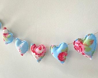Hand Made Shabby Chic 7 Heart fabric Garland Bunting Cath Kidston Ikea Rosali Blue Floral
