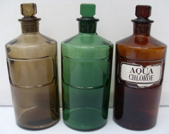 Vintage Chemist's Bottles Set of Three Glass Apothecary Jars Bottles 19th Century