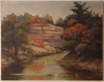 Texas Hill Country 1930's era Oil Painting - Artist E.M. Dillard