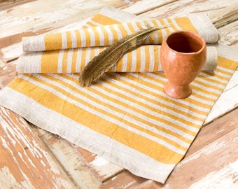 Yellow Striped Natural Linen Placemats | Set of 6