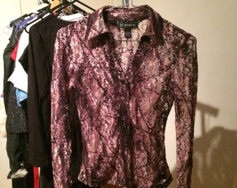 Vintage lace pink and black top