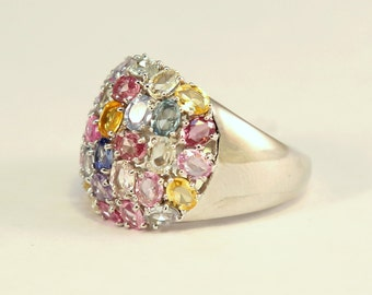 Gold Ring 14 Karat with Multi Color Sapphire