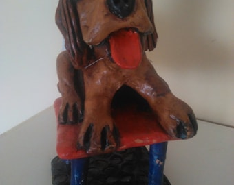 doggy on the Chair all handmade hand painted