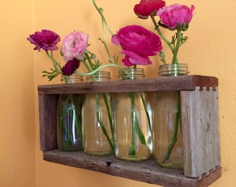 Wall Vase - Reclaimed Wood - Recycled Bottles