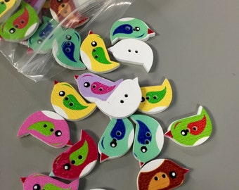 10 Pieces - Bird Wooden Buttons - 2 Holes - Assorted Colors