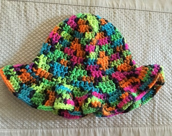 Multi-Colored Crochet Sun Hat