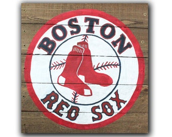 Boston Red Sox MLB Hand-Painted Wooden Pallet Sign