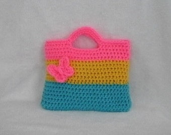 GIRLS PURSE Crochet Little Girls Purse Bright Colorful Purse With Butterfly