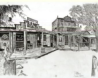 Pen & Ink Drawing, A4 - Ghost Town