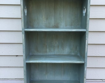 SOLD. Hand Painted Oak Vintage Rustic Bookcase, Cottage Chic style- local pick up/delivery only