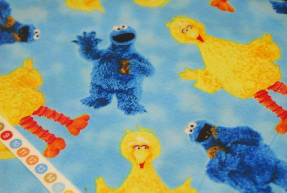 Sesame street fabric cookie monster big bird by quilting for Baby monster fabric