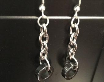 Hematite ring earrings