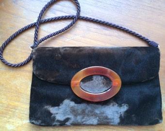 Vintage 70s velvet handbag