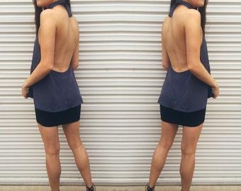 Handmade Womens Backless High Neck Top // Grey Navy