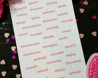 31 Inspired #Hashtag Phrases Planner Stickers