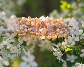 Beaded headband with rose gold crystals Adult Beaded bridal crown Baroque style Headband with pearls and beads and crystals