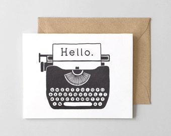 Hello Typewriter Letterpress Greeting Card