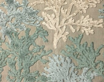 Upholstery Fabric - Reef - Laguna - Coral Pattern Cut Velvet Home Decor Upholstery & Drapery Fabric by the Yard - Available in 8 Colors