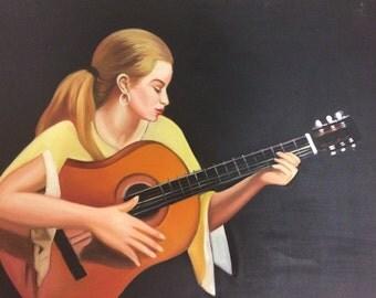 guitarist girl oil painting