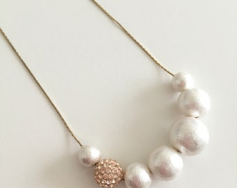 Cotton Pearl & Crystal Bead Necklace, Bridesmaids Gift