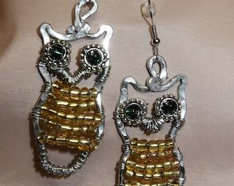 Wire wrapped beaded owl earrings