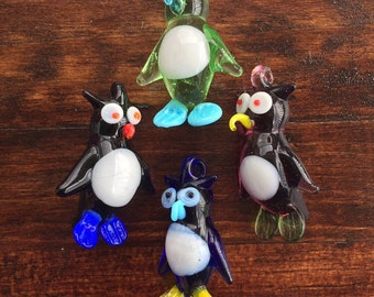Glass Owl Beads - Lot of 4