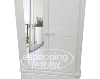 Hand Made Sandra 2 Door Gents 1 Mirror With 2 Drawers In White (Assembled)