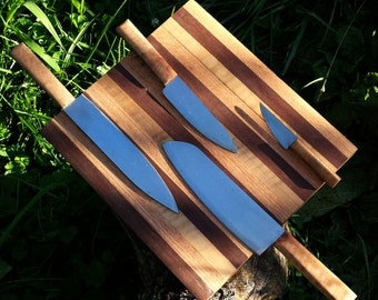 Cutting board knife block combo with 4 kitchen knives