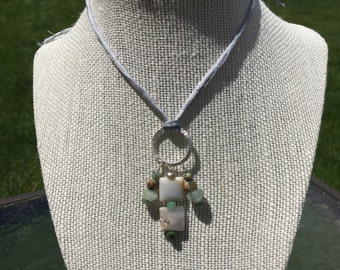 Boho Agate Necklace Sage and Sand