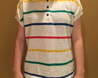 Vintage 80's retro stripe top - small