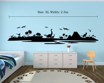Dinosaur / Prehistoric Silhouette Wall Decal (Black)