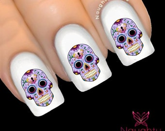 VIOLETTE Sugar Skull Nail Water Transfer Decal Sticker Art Tattoo Day of Dead NNC-140