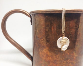 Freshwater Pearl and Gold Pendant