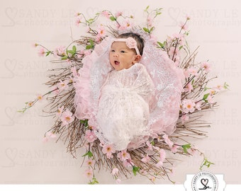 Newborn Digital Backdrop - Cherry Blossom Wreath with Pink Fur and White Lace Background Composite