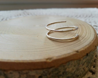 Sterling silver coil, snake, twist ring, hammer textured, Forest Jewellery, Valentine gift for him or her