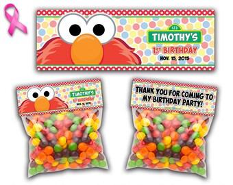 Sesame Street Elmo Favor Bag Topper, Elmo Treat Bag Topper, Elmo Candy Bag Topper, Favor Bag Toppers, Elmo Favor Bag Cards, Favor Party Bags