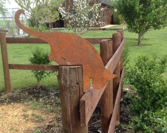 Rusty Leaping Cat / Metal Cat Decor / Cat Post Topper / Rusty Cat Metal  Garden