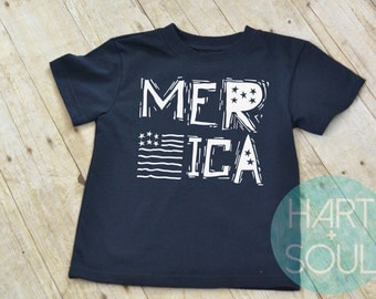 Merica Flag Tshirt, Toddler tshirt, 4th of July-available in royal blue, red or black