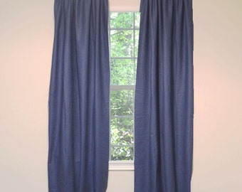 Linen Curtain Panel Solid Navy Blue