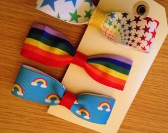 Rainbow bright hair bows