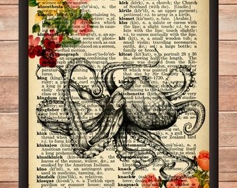 Octopus with flower, lovely print, Wall art Octopus,octopus poster
