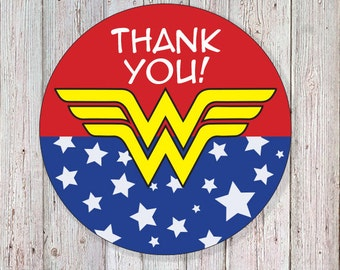 "Wonder Woman - 2"" Round Thank You Labels (INSTANT DOWNLOAD)"