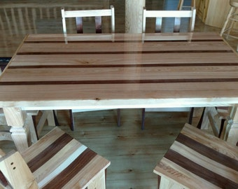 Custom Made Ash and Black Walnut Dining Room Table with 6 Chairs