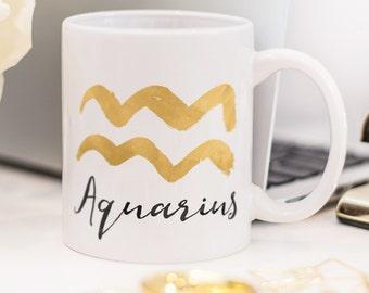 Aquarius mug, with brush painted zodiac sign