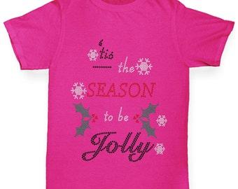 Girl's Season To Be Jolly Rhinestone Diamante T-Shirt