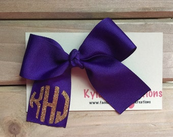 Mongrammed hair bow ribbon baby girl infant toddler photo prop