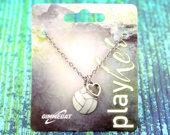 Customized Enamel Volleyball Heart Necklace - Personalize with Jersey Number Charm, Letter Charm, or Heart Color! Great Volleyball Gift!