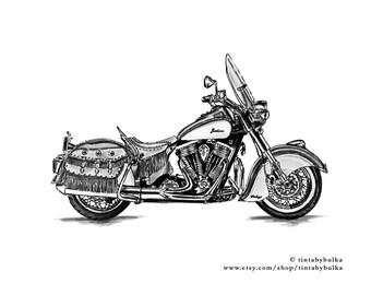 MOTORCYCLE Print Motorcycle Art Motorcycle Art Print Sport Motorcycle Bike Home Decor Bike Poster INDIAN