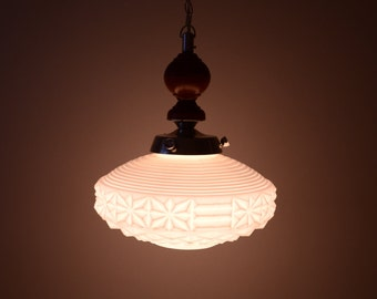 Vintage pendant light - White glass pendant lighting