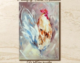 Rooster painting, Wall art Animals , Cock, Bright painting, Original painting, New Year gift, Symbol 2017 , Birds painting, Country art